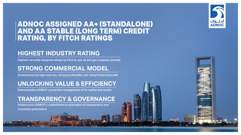 ADNOC assigned AA+ Standalone and AA Long-Term Issuer Default Credit Rating by Fitch