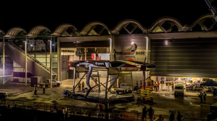 Emirates Team New Zealand launches the first of their two-full scale race boats for 2021 America's Cup